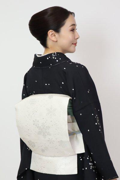 あおき【FR11-K-7189】織名古屋帯 象牙色 雪花文