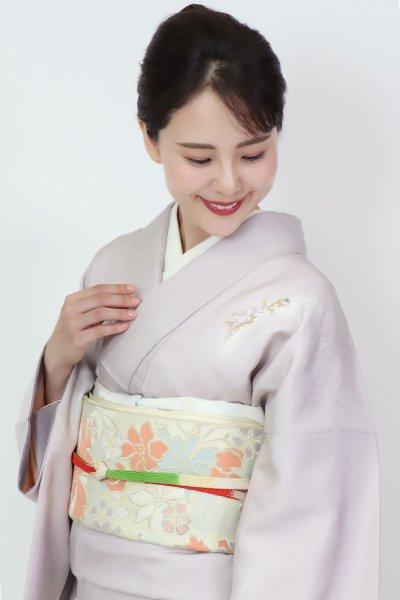 銀座【FR11-L-5386】西陣 川島織物製 袋帯 鳥の子色 花々の図(落款入)