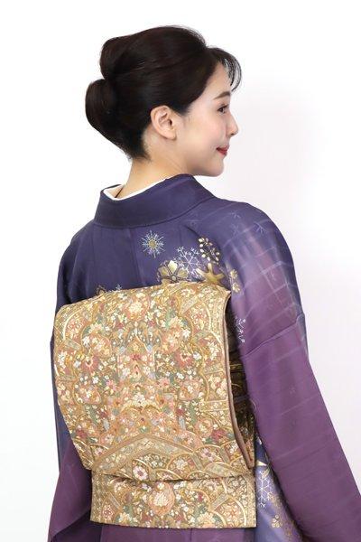 銀座【FR11-L-5387】総刺繍 袋帯 金色 アラベスク(反端付)