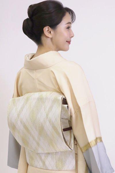 あおき【FR11-L-5389】組織り 袋帯 白色×金色 菱文(反端付)