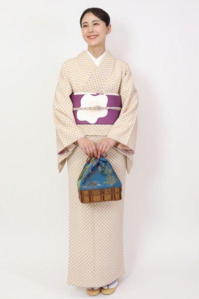 あおき【FR11-D-2692】小紋  砥粉色×鳩羽色 市松文