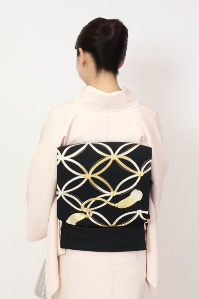 あおき【FR11-K-7183】塩瀬 名古屋帯 黒色 飾り紐