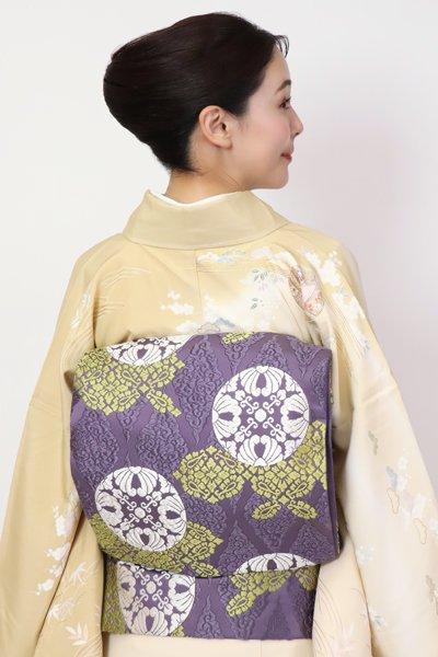 銀座【FR11-L-5395】袋帯 紫苑色 有職丸文