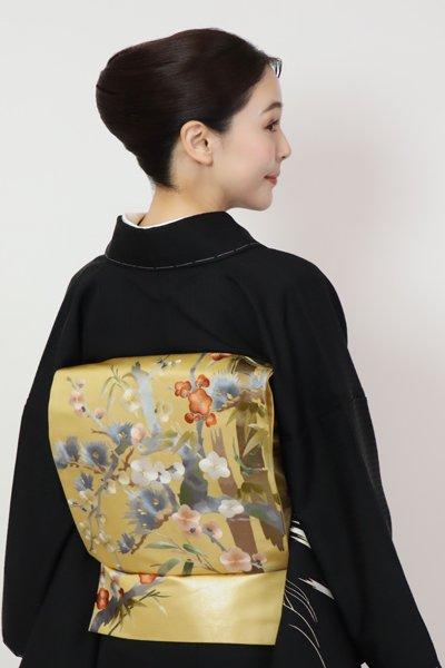 あおき【FR11-L-5399】刺繍 袋帯 蜂蜜色 松竹梅