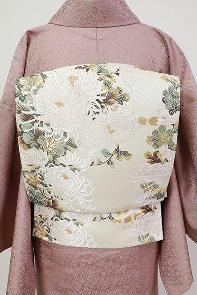 銀座【L-5401】本金箔 袋帯 白色 菊の図