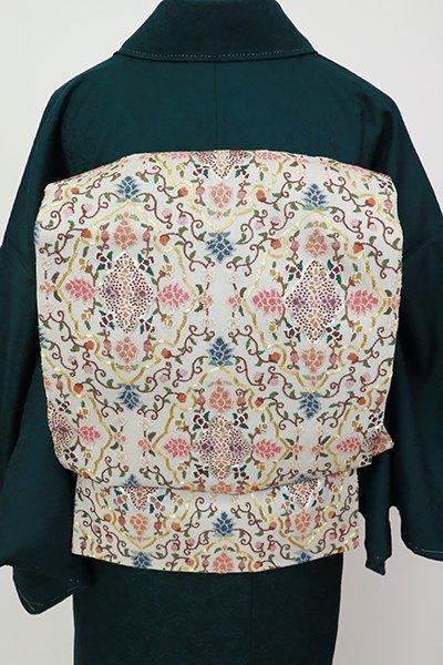 銀座【L-5402】相良刺繍 袋帯 薄雲鼠色 華文