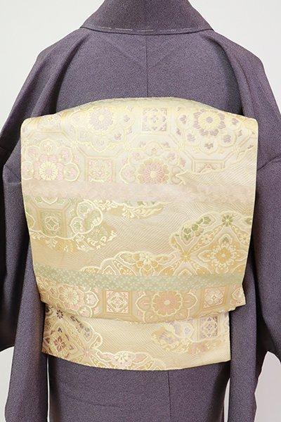 銀座【L-5404】西陣 陰山織物製 箔屋清兵衛 袋帯 砥粉色 有職文の横段(落款入)