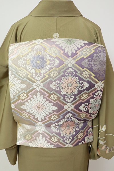 銀座【L-5405】西陣製 袋帯 薄鼠色 竪暈かしに菱に花文(証紙付)