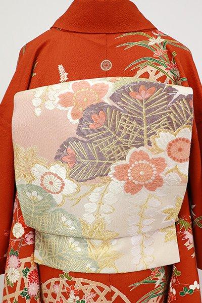 銀座【L-5406】西陣製 袋帯 薄卵色×水柿色 横段に四季花(証紙付・落款入)
