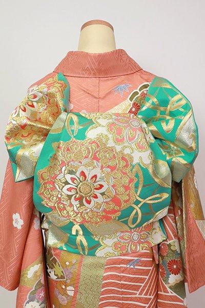 銀座【L-5408】西陣 川島織物製 本袋帯 翡翠色 華文(落款入)