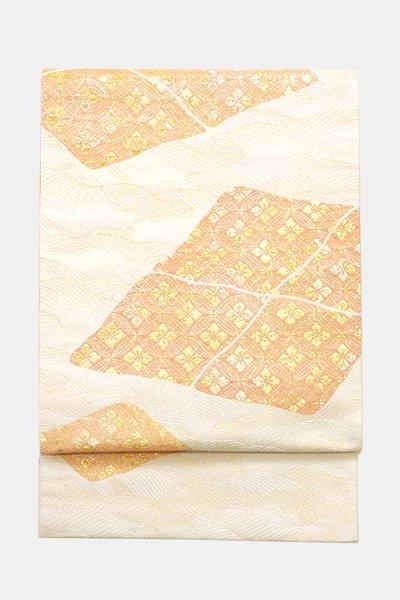 銀座【帯3643】西陣 梅垣織物製 袋帯 練色 波に割菱 七宝花菱文 (証紙付)