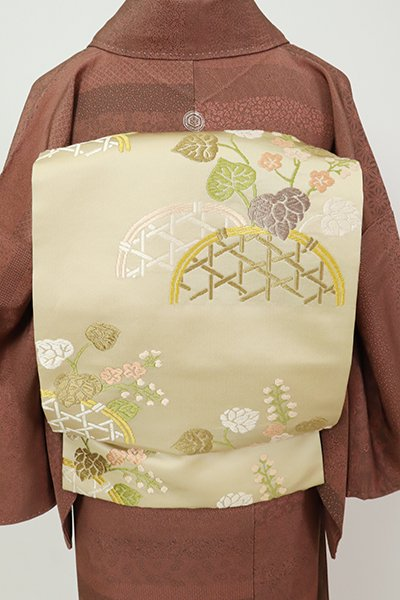 銀座【K-7199】織名古屋帯 蒸栗色 蛇籠に葵の図