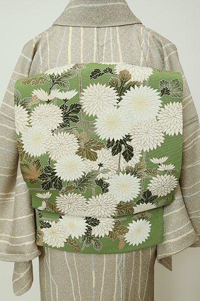 銀座【K-7201】縮緬地 二部式 付け帯 染名古屋帯 草色 菊の図