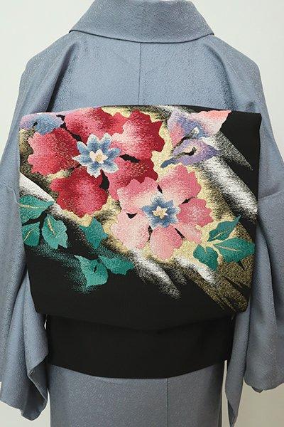 銀座【K-7202】綴れ織 八寸名古屋帯 黒色 花の図