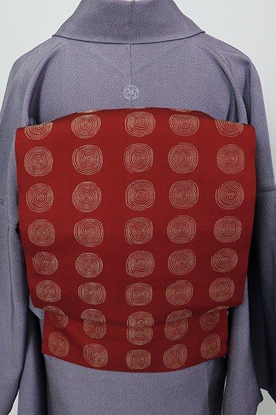 あおき【K-7205】西陣 龍村美術織物製 光波帯 茜色 渦文