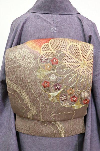 あおき【L-5410】袋帯 紅樺色×江戸鼠色 雪輪に菊の図