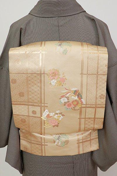 銀座【K-7209】西陣製 織名古屋帯 淡香色 花や蝶の丸文(証紙付)