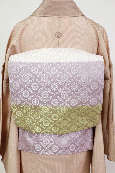 銀座【L-5411】袋帯 白色×柳茶色×薄色 横段に有職文