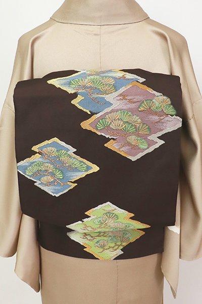 銀座【L-5413】西陣 川島織物製 本袋帯 赤墨色 松皮菱(落款入・松屋扱い)