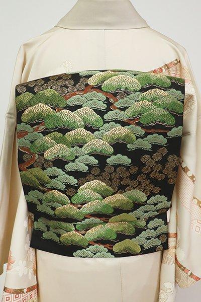 銀座【L-5414】西陣 服部織物製 袋帯 黒色 吉祥松寿文(落款入)