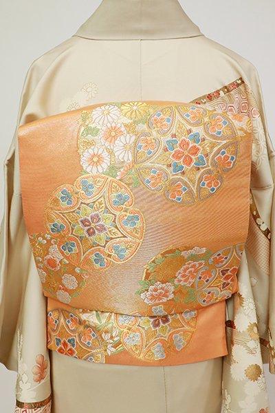 銀座【L-5415】西陣 本家加納製 袋帯 深支子色 装飾七宝文(証紙付・三越扱い)