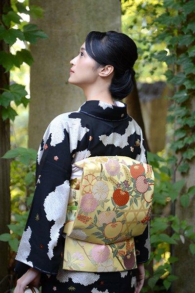 銀座【帯3648】西陣 山口美術織物製 袋帯「禁裏桜橘文」