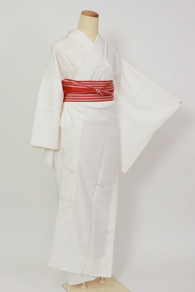 銀座【F-488】長襦袢 白色 雪輪芝の地紋(半衿付)