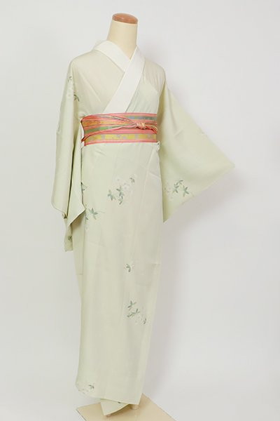 銀座【F-491】長襦袢 若芽色 桜の図(半衿付)