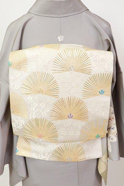 銀座【L-5417】袋帯 白色 松葉の図