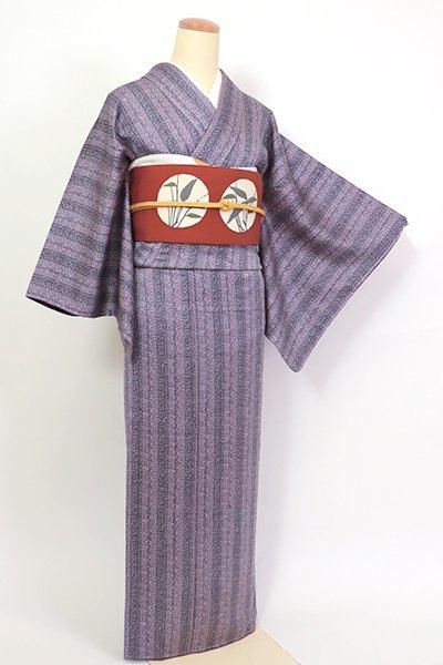 あおき【D-2699】(S・広め)川村久太郎 小紋 深紫色 縞に装飾文(反端付)