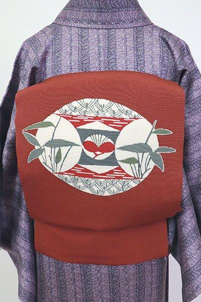 あおき【K-7210】縮緬地 染名古屋帯 紅鳶色 丸に松竹梅の図