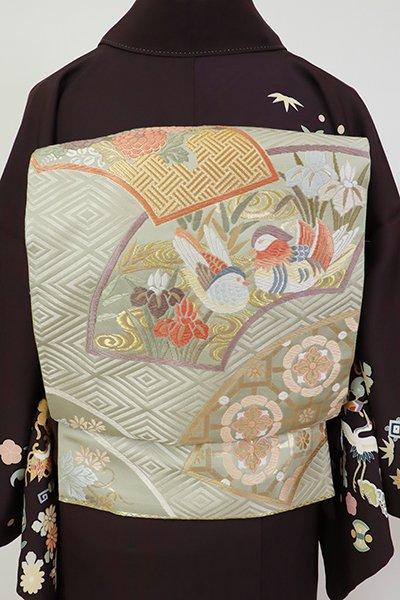 銀座【L-5423】袋帯 蕎麦切色 扇面に菊や鴛鴦の図