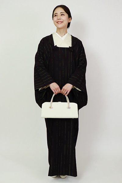銀座【E-1345】(L)輪奈織り 被布衿 和装コート 藍鉄色 竪縞