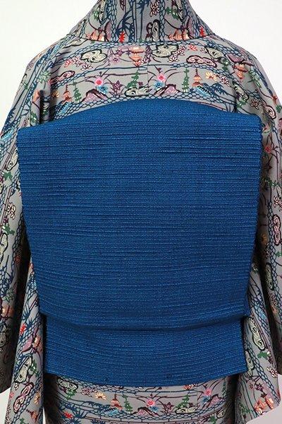 銀座【K-7215】紬地 八寸名古屋帯 藍色 無地