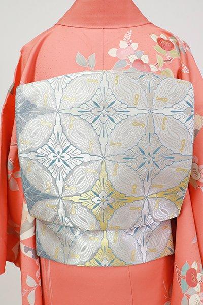 銀座【L-5425】袋帯 銀色 鳥襷文