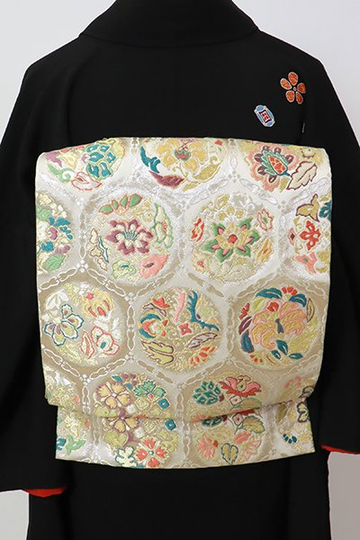 銀座【L-5426】西陣製 袋帯 白色 亀甲に花の丸文(反端付)