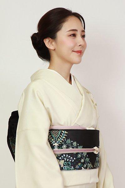 銀座【L-5429】相良刺繍 袋帯 黒色 華文