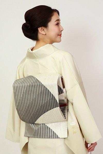 銀座【L-5430】袋帯 白色×黒色 竪縞に装飾文