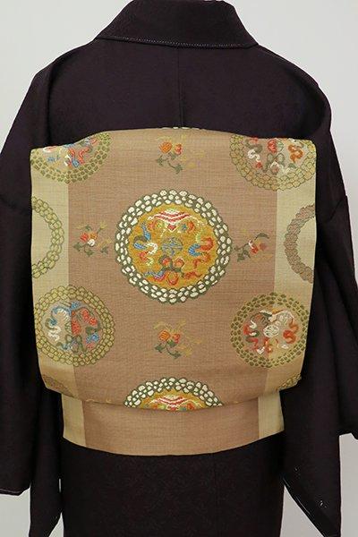 銀座【K-7219】西陣 川島織物製 織名古屋帯 枯茶色×榛色 チベット円紋(紙札付)