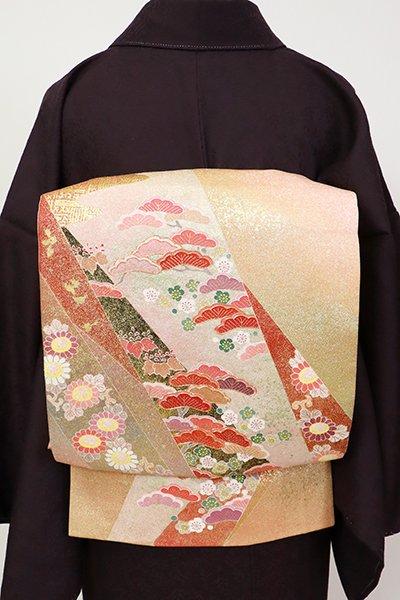 銀座【L-5431】松井青々作 洒落袋帯 一斤染色 裂取りに松や菊など(落款入)
