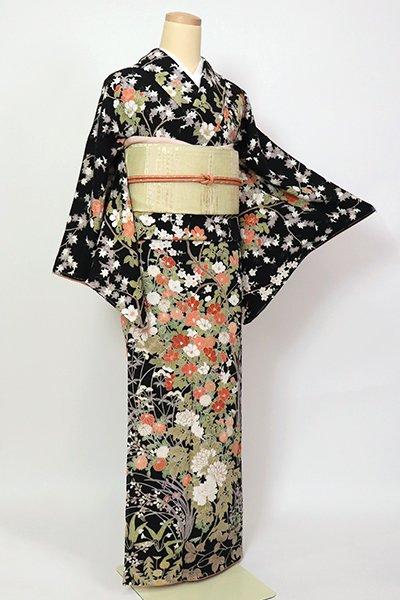 銀座【B-2804】(細め)縮緬地 付下げ小紋 黒色 四季花の図