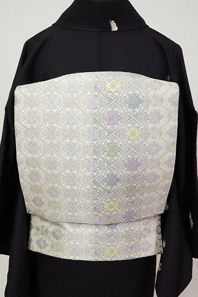 銀座【L-5434】袋帯 灰白色 花菱文