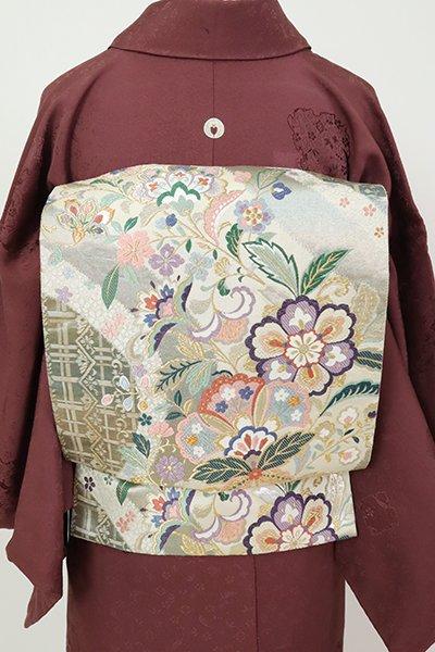 銀座【L-5435】袋帯 練色 花格子に唐花の図