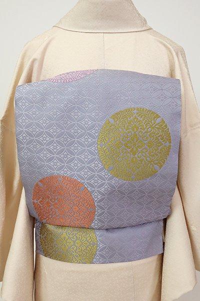 銀座【L-5436】袋帯 薄鼠色 有職丸文