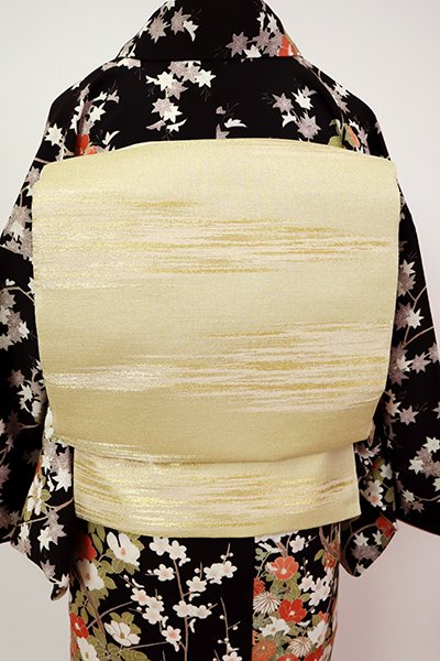 銀座【L-5438】袋帯 金色 霞文