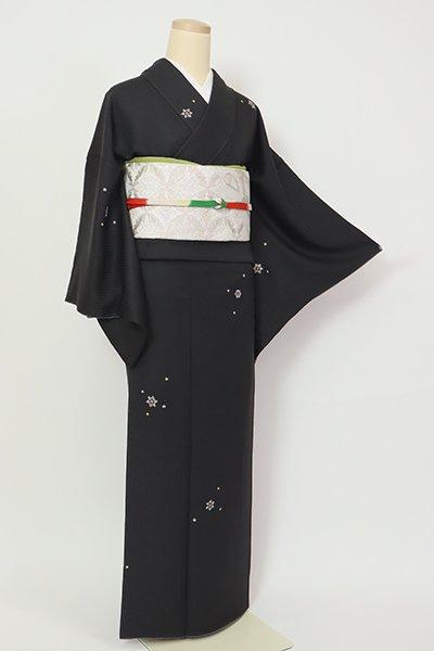 銀座【D-2709】刺繍 小紋 黒色 雪花文(三越扱い)