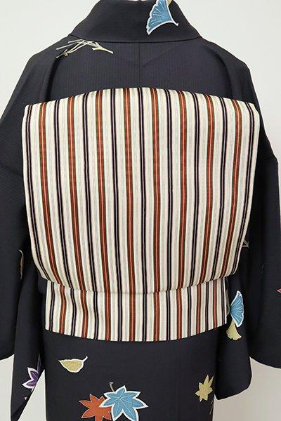 銀座【K-7227】織名古屋帯 絹鼠色 竪縞