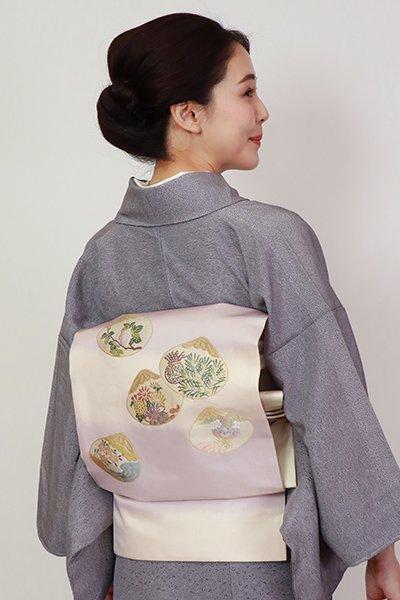 銀座【K-7233】西陣 川島織物製 織名古屋帯 白色×暁鼠色 段暈かしに貝合文(落款入)