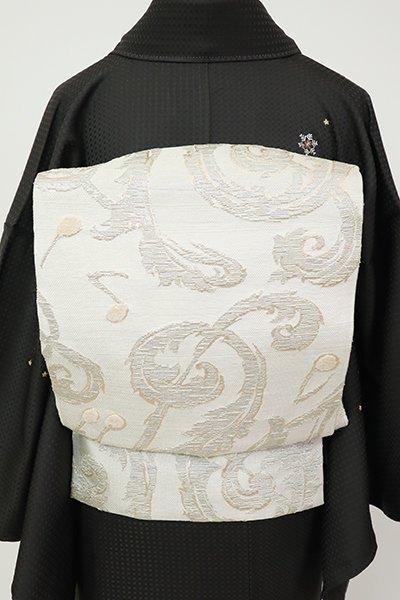 銀座【L-5439】西陣製 袋帯 白色 ト音記号と音符の図(反端付)