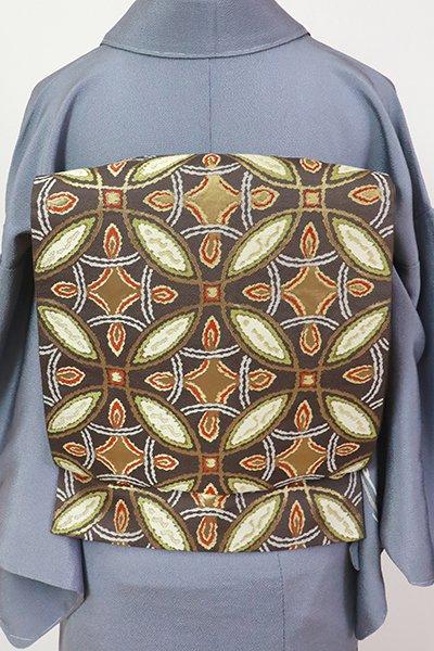 銀座【L-5443】西陣 本家加納製 袋帯 黒橡色 七宝繋ぎ(証紙付・落款入)